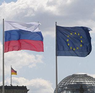 Banderas de UE, Rusia y Alemania