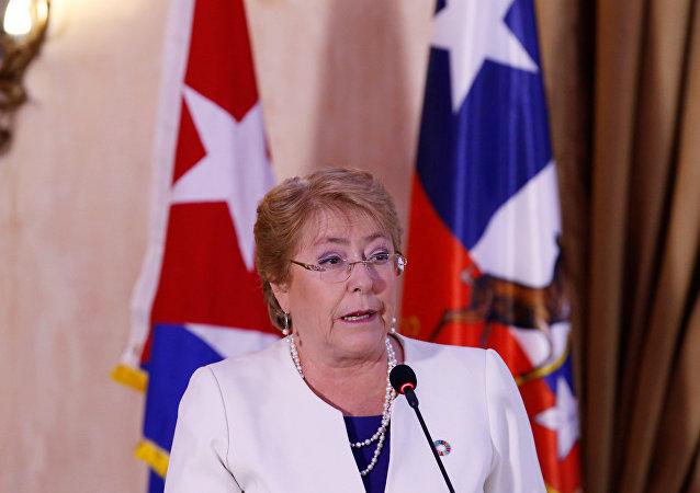 Presidenta de Chile Michelle Bachelet en Cuba