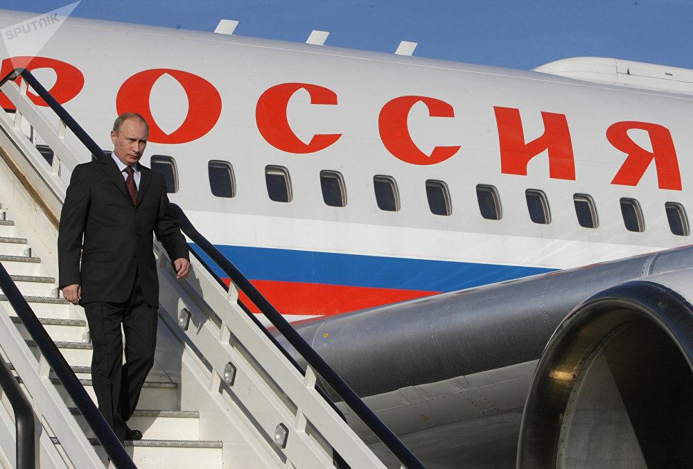 Vladímir Putin, presidente de Rusia, en uno de los aviones presidenciales