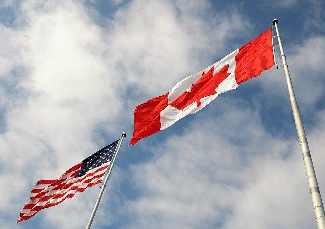 Banderas de EEUU y Canadá