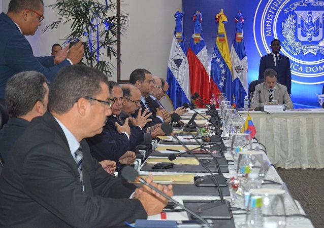 La reunión entre el Gobierno y la oposición venezolana en República Dominicana (archivo)
