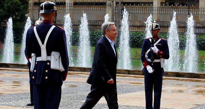 António Guterres, secretario General de la Organización de Naciones Unidas, en Bogotá