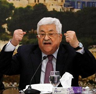 Mahmud Abás, líder palestino, durante la reunión del Consejo Central Palestino (CCP) de la OLP