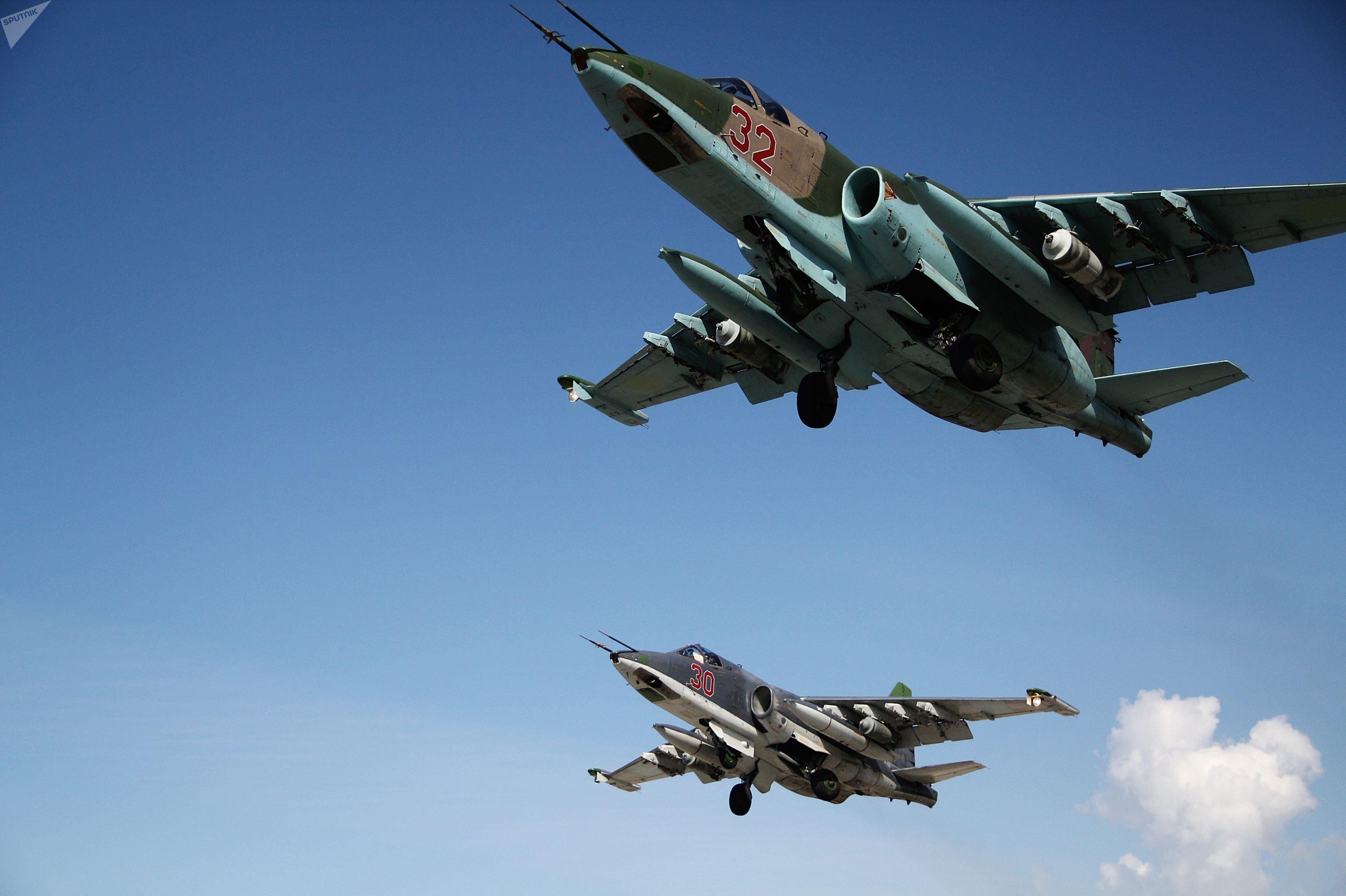 Cazas rusos Su-25 en Siria