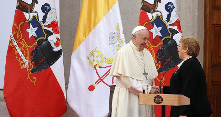 El papa Francisco durante su visita a Chile