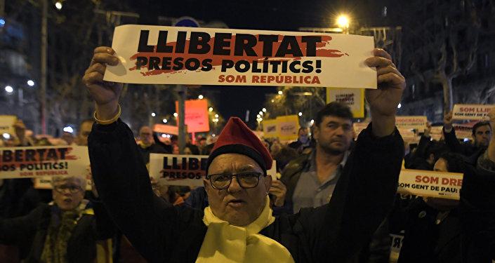 Manifestación en Cataluña por la liberación de independentistas presos