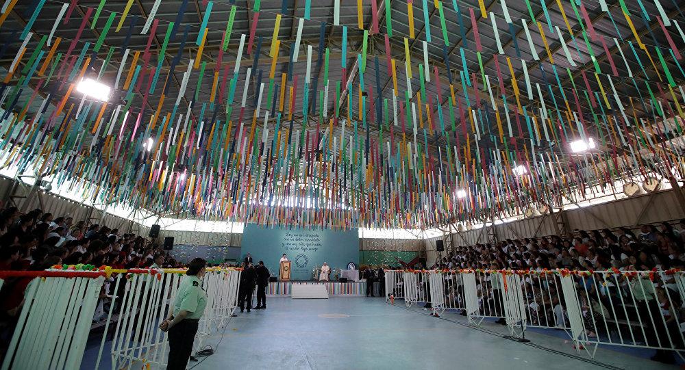 La cárcel femenina de San Joaquin en Santiago durante la visita del Papa Francisco