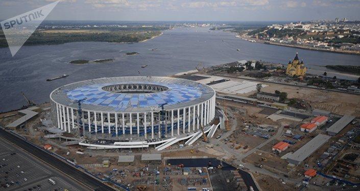 La construcción del estadio en Nizhni Nóvgorog (archivo)