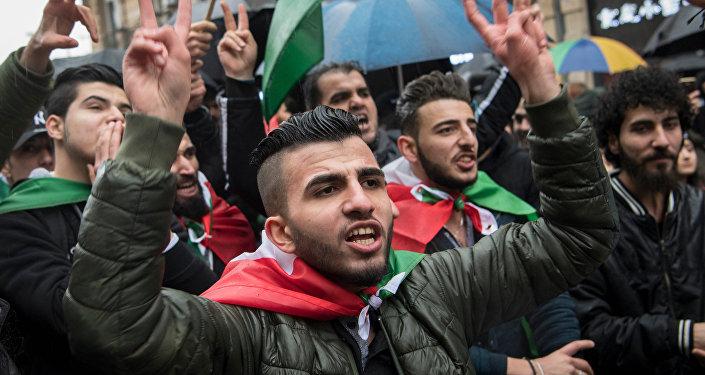 Manifestación de protesta en Fráncfort del Meno