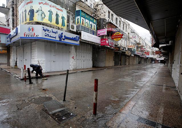 Tiendas cerradas durante la huelga general en Palestina