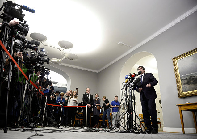Carles Puigdemont, expresidente de Cataluña da rueda de prensa en Copenhague, Dinamarca
