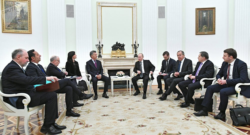El encuentroe entre el presidente de Rusia Vladimir Putin y el presidente de Argentina Mauricio Macri, Moscú, Rusia