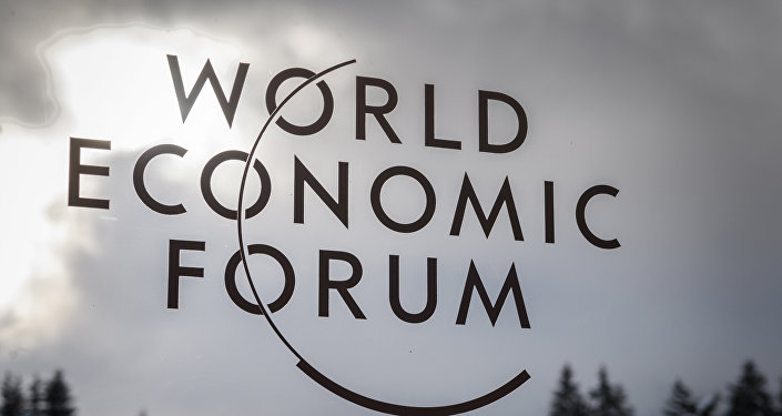 El logo del foro económico en Davos