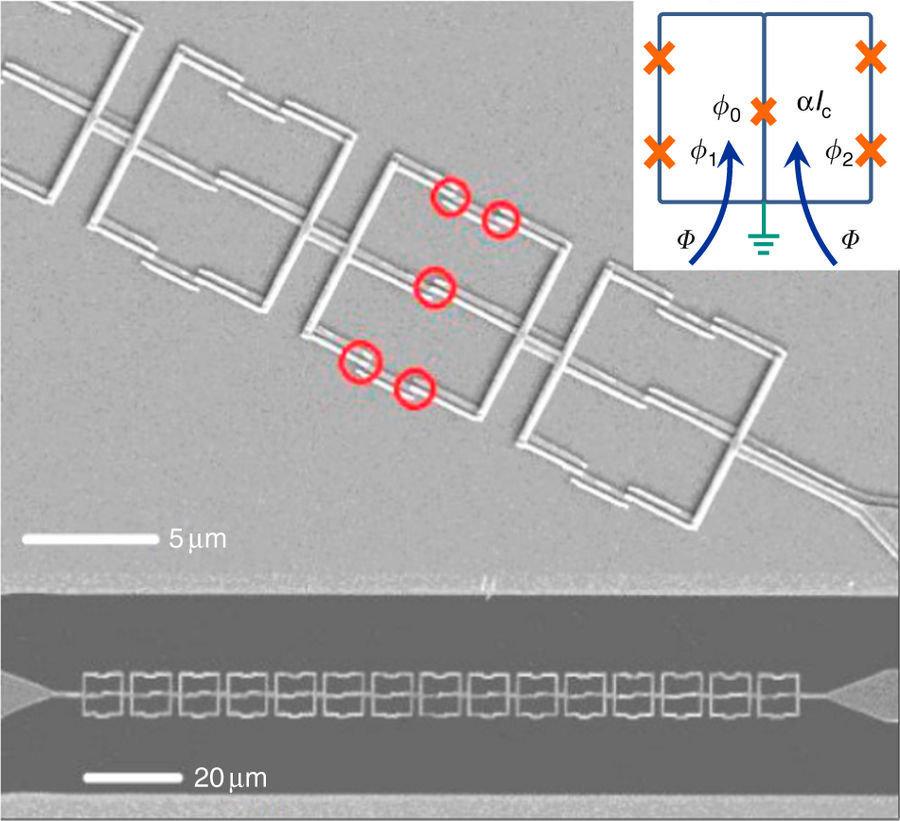 Microfotografía de la cadena de cúbits de espejo. En la parte inferior, la resolución es de 20 micrones por centímetro, en la parte superior, de 5 micrones por centímetro. Los círculos representan las uniones de Josephson que forman parte de un cúbit de espejo