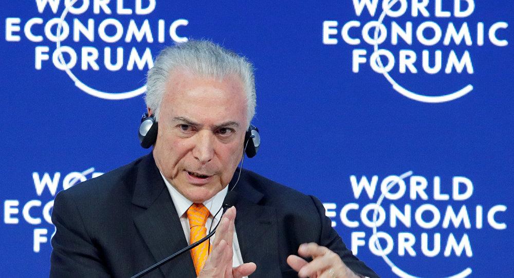 Michel Temer, el presidente brasileño en el Foro Económico Mundial de Davos (Suiza)