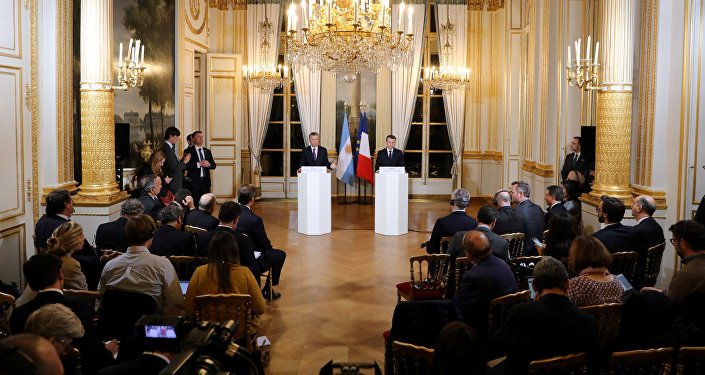 Presidente de Argentina, Mauricio Macri, y presidente de Francia, Emmanuel Macron