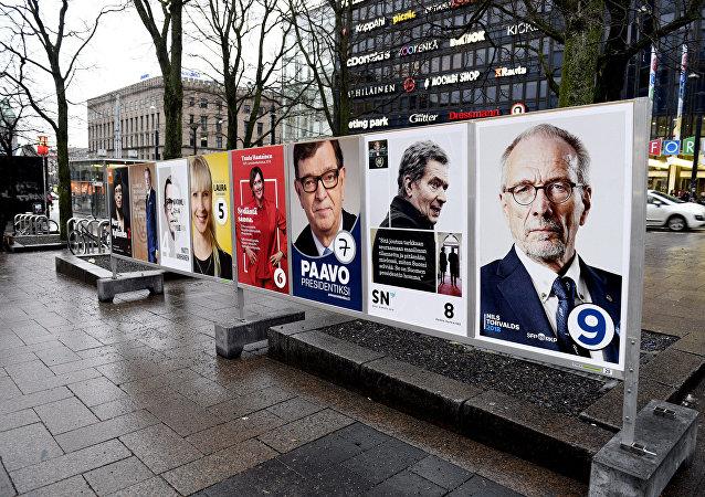 Carteles de los candidatos a la presidencia de Finlandia