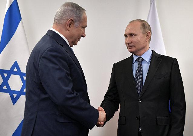 El presidente de Rusia, Vladímir Putin y el primer ministro de Israel, Benjamín Netanyahu