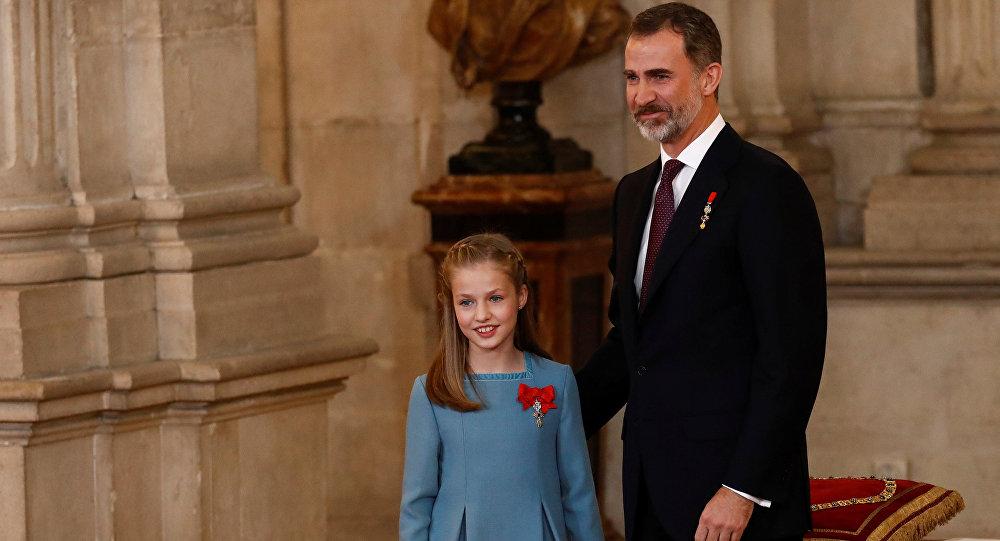 El Rey de España, Felipe VI, con su hija Leonor de Borbón