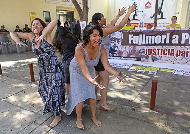 Una marcha en Perú contra el indulto al expresidente Fujimori (archivo)