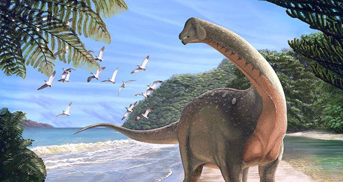 Mansourasaurus shahinae, reconstrucción de un artista