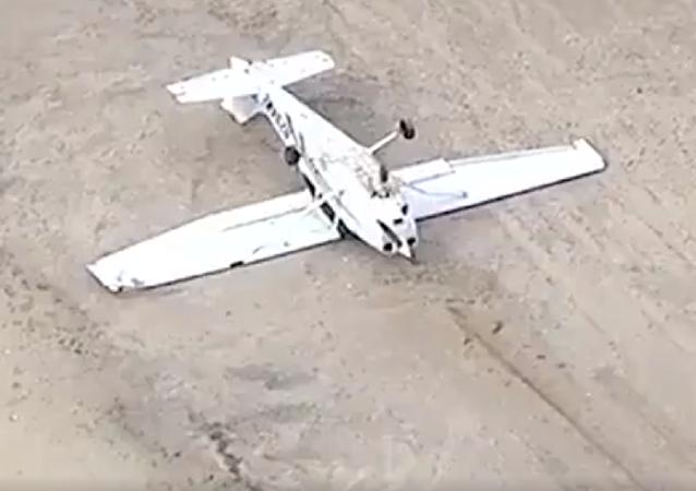 Una avioneta aterriza 'bocabajo' en Nueva York