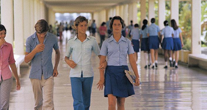 Alumnos de la escuela Lenin en Cuba
