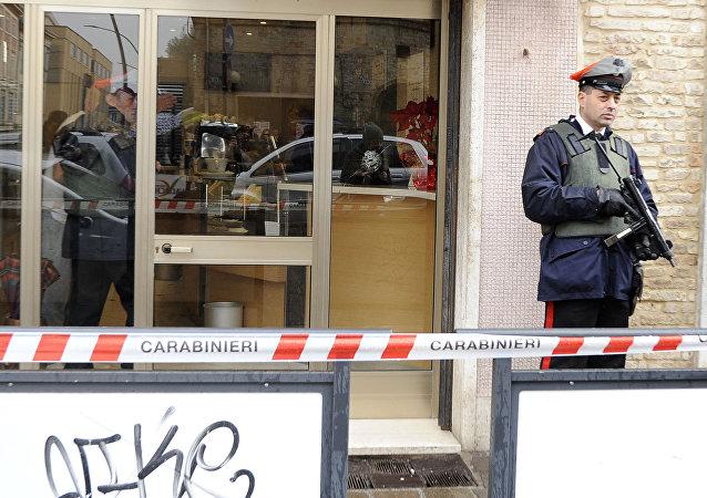La escena del tiroteo en la ciudad italiana de Macerata