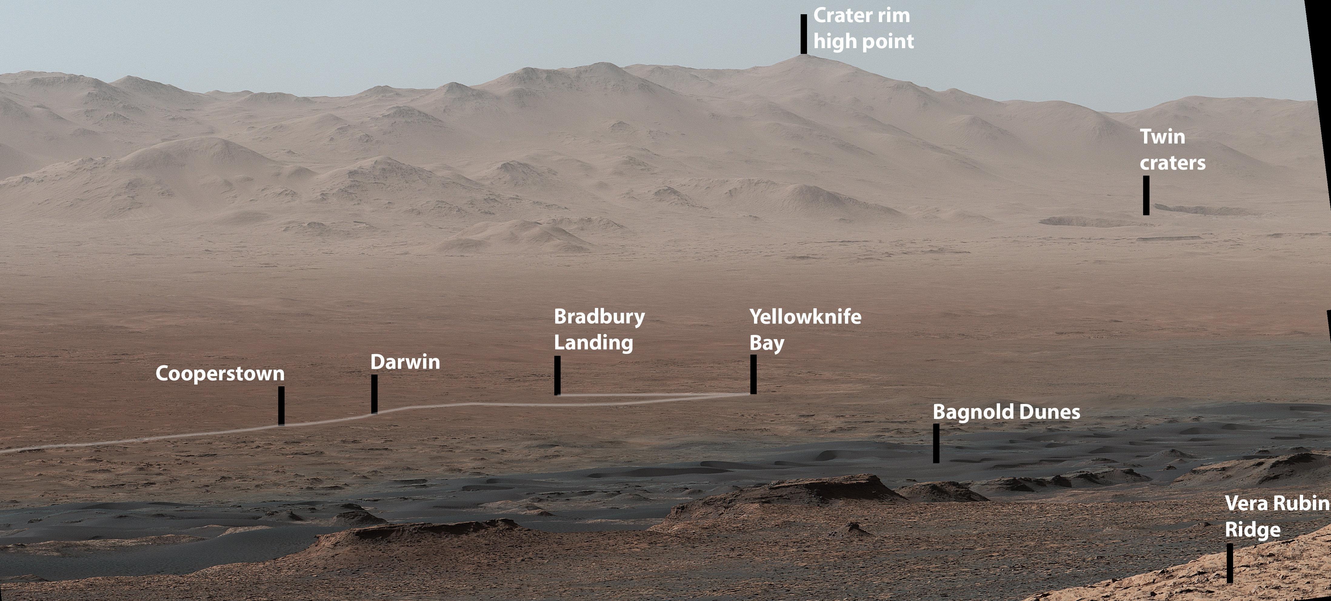 Esta foto muestra el sitio, donde el rover Curiosity aterrizó en 2012,  hace más de 2.000 días. También muestra la bahía de Yellowknife, donde el vehículo encontró el lugar de un antiguo lago de agua dulce que podría haber tenido todos los ingredientes químicos básicos para la vida microbiana.