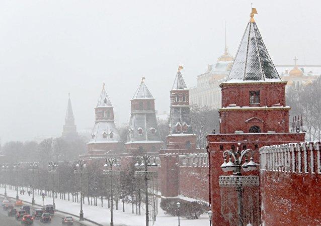Una nevada en Moscú, Rusia