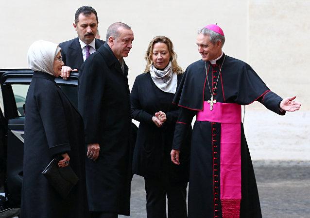 Recep Tayyip Erdogan, presidente de Turquía, llega al Vaticano