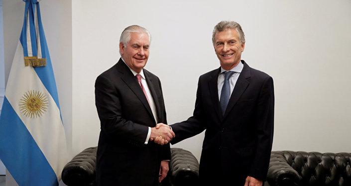 El secretario de Estado de EEUU, Rex Tillerson, y el presidente de Argentina, Mauricio Macri