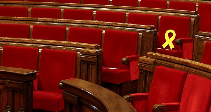 Asiento del diputado Oriol Junqueras en el Parlamento catalán