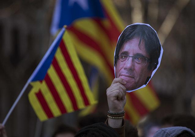 Una cara de Carles Puigdemont, el expresidente catalán