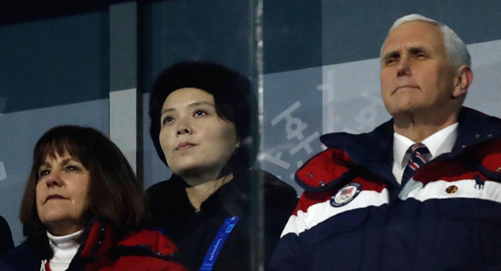 La hermana del líder norcoreano, Kim Yo-jong y el vicepresidente de EEUU, Mike Pence