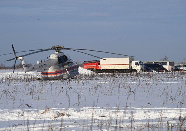 El lugar del siniestro del avión An-148 a las afueras de Moscú