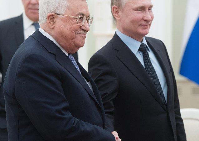 El presidente de Palestina, Mahmud Abás, y el presidente de Rusia, Vladímir Putin (archivo)