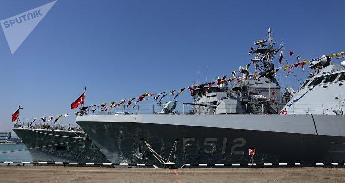 Un buque de guerra de Turquía