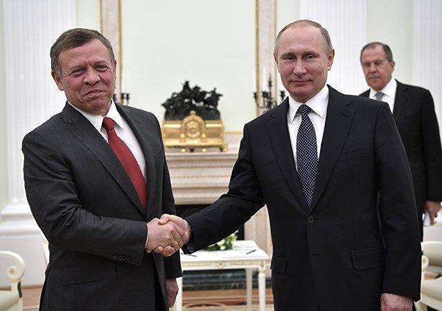 La reunión entre Abdallah II, el rey de Jordania y Vladímir Putin, el presidente de Rusia