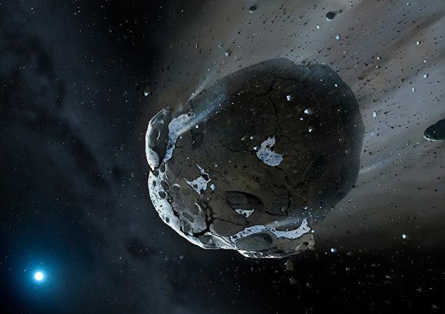 Un asteroide, imagen de un artista