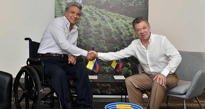 La reunión entre el presidente de Ecuador Lenín Moreno y el presidente de Colombia Juan Manuel Santos