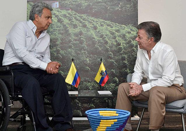 El presidente de Ecuador, Lenín Moreno, y el presidente de Colombia, Juan Manuel Santos