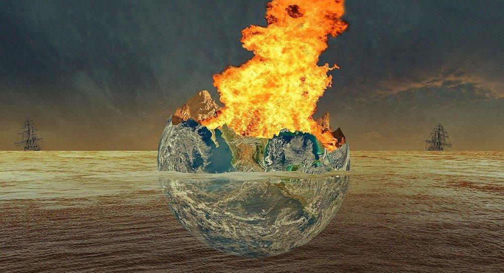 La Tierra destrozada por una catástrofe, visión artística