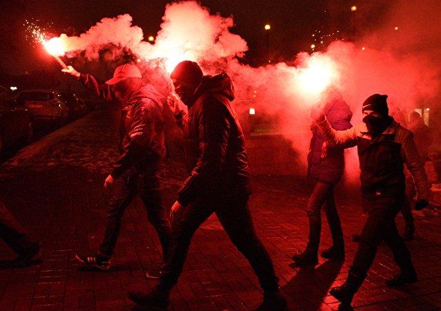 Aniversario de los acontecimientos en Maidán, en Kiev