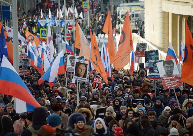 La marcha de homenaje a Nemtsov
