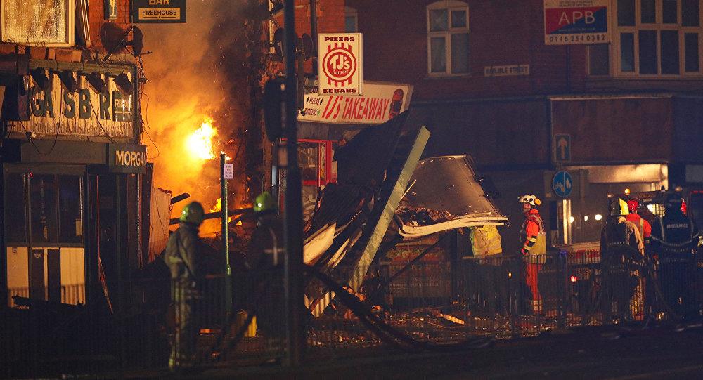 Lugar del explosión en Leicester