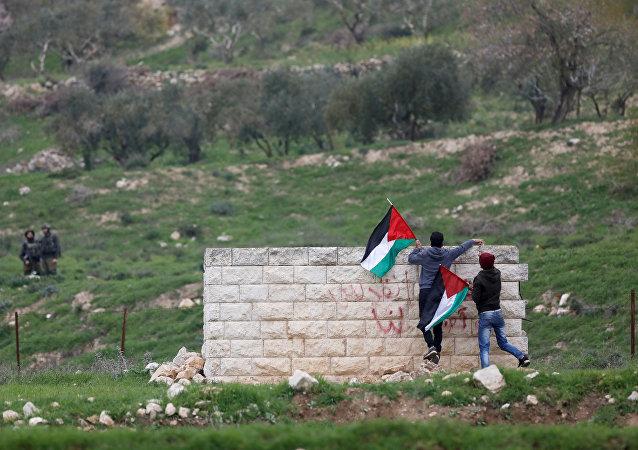 Manifestantes palestinos en Cisjordania