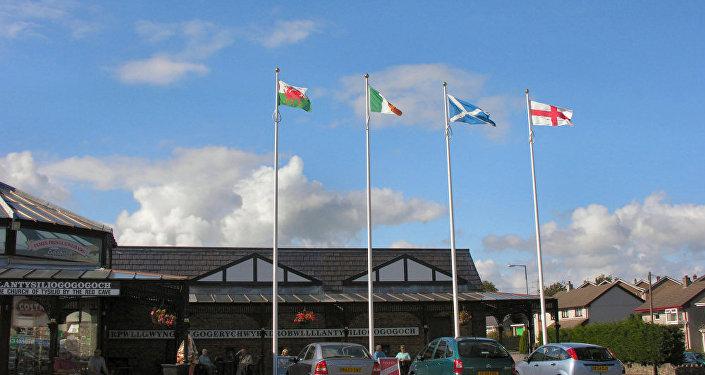 Las banderas de Gales, Irlanda, Escocia e Inglaterra