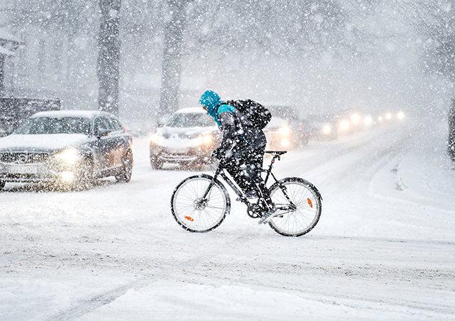 Fuerte nevada en Dinamarca