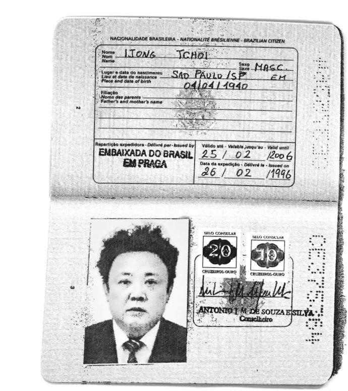 Un pasaporte brasileño auténtico expedido al padre del actual líder de Corea del Norte, Kim Jong-il